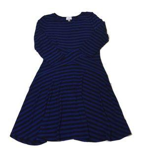 ECI blue & black stripe knee length dress size XL